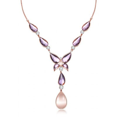 Water Drop Design Faux Opal Zircon Embellished Ladies Necklace