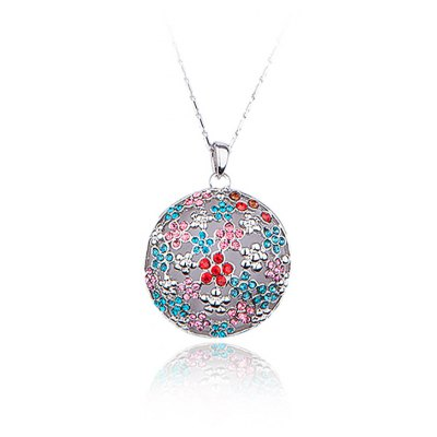 Plum Blossom Pattern Crystal Embellished Women Pendant Necklace
