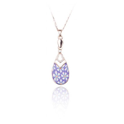 Four Leaf Clover Water Drop Pattern Crystal Embellished Women Pendant Necklace