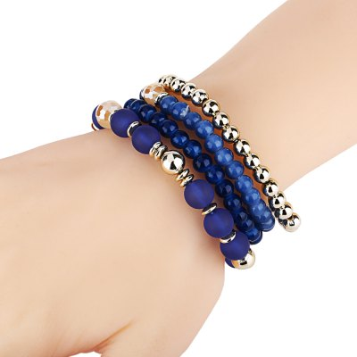 4pcs Bead Design Multi Layers Ladies Alloy Bracelets