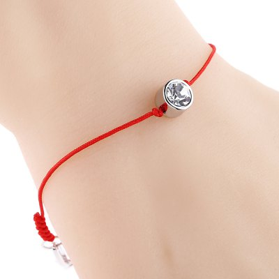 Simple Crystal Embellished Ladies Red Rope Bracelet