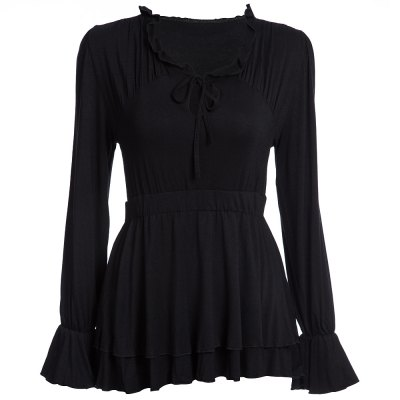 Sexy Plunging Neck Long Sleeve Ruffled Slimming T-Shirt for Women