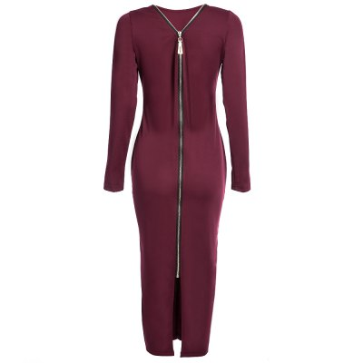 Simple Round Collar Long SLeeve Zipper Design Skinny Women Midi DressBodycon Dresses<br>Simple Round Collar Long SLeeve Zipper Design Skinny Women Midi Dress<br><br>Dresses Length: Mid-Calf<br>Elasticity: Micro-elastic<br>Fabric Type: Broadcloth<br>Material: Cotton Blend, Polyester<br>Neckline: Round Collar<br>Package Contents: 1 x Dress<br>Pattern Type: Solid<br>Season: Summer, Fall<br>Silhouette: Sheath<br>Sleeve Length: Long Sleeves<br>Style: Brief<br>Weight: 0.3600kg<br>With Belt: No