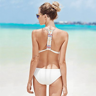 Sexy Halter Patchwork Solid Color Women Swimwear