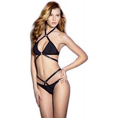 Halter Bandage Cross Padded Wire Free Bra + Low Waist Briefs Two Piece Women Bikini Swimwear