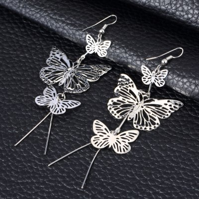Ladies Hollow Out Butterflies Alloy Drop EarringsEarrings<br>Ladies Hollow Out Butterflies Alloy Drop Earrings<br><br>Earring Type: Drop Earrings<br>Gender: For Women<br>Back Finding: Screw-back<br>Metal Type: Alloy<br>Style: Trendy<br>Shape/Pattern: Animal<br>Occasion: Gift<br>Size (CM): 10.7cm x 3.8cm x 2cm / 4.2051inch x 1.4934inch x 0.786inch<br>Weight: 0.011KG<br>Package Contents: 1 x Pair of Drop Earrings