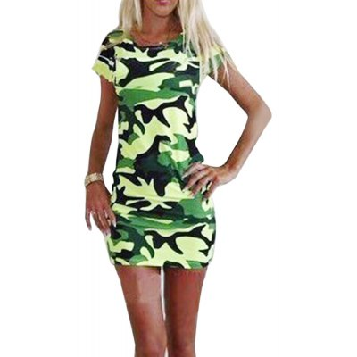 Round Collar Short Sleeve Camouflage Bodycon Mini Dress for Women