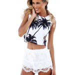 Trendy Round Collar Hollow Out Plant Print Women Crop Top
