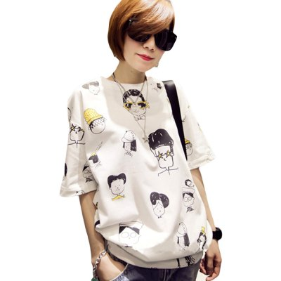 Round Collar Short Sleeve Cartoon Print Large Size Loose Women T-shirt