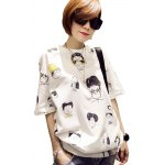 Casual Round Collar Short Sleeve Cartoon Print Large Size Loose Women T-shirt