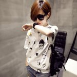 cheap Casual Round Collar Short Sleeve Cartoon Print Large Size Loose Women T-shirt