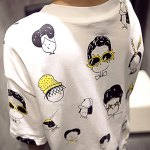 Casual Round Collar Short Sleeve Cartoon Print Large Size Loose Women T-shirt deal
