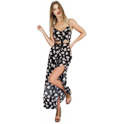 Fashionable Suspender V-neck Floral Print Hollow Out Side Slit Single-Breasted Ball Gown Women Maxi Dress