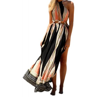 Bohemian Round Collar Cut Out Printed High Split Women Maxi Beach Dress