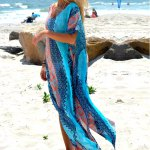cheap Bohemian V-Neck Batwing Sleeve Tribal Print Chiffon Women Split Beach Dress