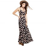 cheap Fashionable Suspender V-neck Floral Print Hollow Out Side Slit Single-Breasted Ball Gown Women Maxi Dress