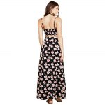 Fashionable Suspender V-neck Floral Print Hollow Out Side Slit Single-Breasted Ball Gown Women Maxi Dress deal