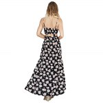 Fashionable Suspender V-neck Floral Print Hollow Out Side Slit Single-Breasted Ball Gown Women Maxi Dress for sale