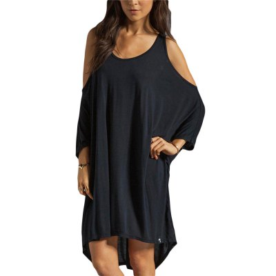 Brief Scoop Collar Batwing Sleeve Plus Size Cut Out Women Mini Dress