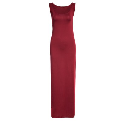 Brief Round Neck Sleeveless Bodycon Solid Color Women Long Sundress