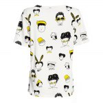 best Casual Round Collar Short Sleeve Cartoon Print Large Size Loose Women T-shirt