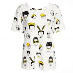 Casual Round Collar Short Sleeve Cartoon Print Large Size Loose Women T-shirt for sale