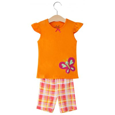 2pcs Round Neck Short Sleeve Butterfly Applique Cotton T-Shirt with Half Pants for Baby Girls