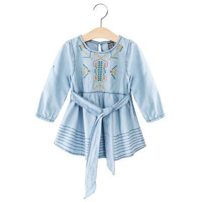 Breathable Round Neck Long Sleeve Embroidered Girls Denim Dress