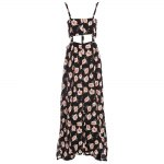 best Fashionable Suspender V-neck Floral Print Hollow Out Side Slit Single-Breasted Ball Gown Women Maxi Dress