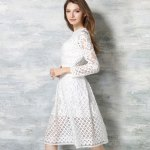Elegant Round Collar Long Sleeve Lace A-Line Women Midi Dress for sale