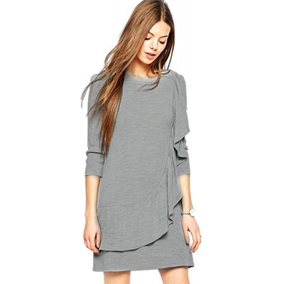 Round Collar 3/4 Sleeve Flounced Loose-Fitting Women Mini Dress
