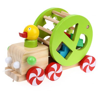 Wisdom Duck Pull Car Shape Matching Educational Wooden Toys