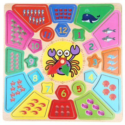 Cartoon Digital Clock Shape Matching Building Blocks Early Learning Wooden Toys Square Crab Clock