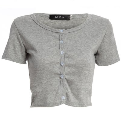 Sexy Round Collar Short Sleeve Single-breasted Solid Color Women Crop Top