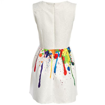 Sweet Round Collar Sleeveless Printed Pleated Patchwork Knee-length Women Ball Gown Dress