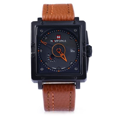 NAVIFORCE NF9065M Male Military Quartz WatchMens Watches<br>NAVIFORCE NF9065M Male Military Quartz Watch<br><br>Band color: Black,Brown<br>Band Length: 8.47<br>Band Length Unit: inch<br>Band Material Type: Leather<br>Band Width: 0.95 inch<br>Case material: Plastic<br>Case Shape: Square<br>Clasp type: Pin Clasp<br>Dial Diameter: 1.57<br>Dial Diameter Unit: inch<br>Dial Display: Analog<br>Dial Material Type: Stainless Steel<br>Dial Window Material Type: Glass<br>Feature: Complete Calendar<br>Gender: Men<br>Movement: Quartz<br>Style: Business,Sport<br>Water Resistance Depth: 30m<br>Product weight: 0.096 kg<br>Package weight: 0.120 kg<br>Product Size(L x W x H): 26.50 x 4.50 x 1.50 cm / 10.43 x 1.77 x 0.59 inches<br>Package Size(L x W x H): 27.50 x 5.50 x 2.50 cm / 10.83 x 2.17 x 0.98 inches<br>Package Contents: 1 ? NAVIFORCE NF9065M Male Quartz Military Watch