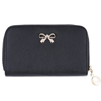 Lady Solid Color Bowknot Embellishment Leather Wallet