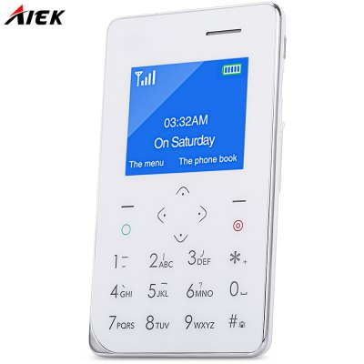 AIEK A6 Quad Band Card Phone 1.77 inchFeatured Phones<br>AIEK A6 Quad Band Card Phone 1.77 inch<br><br>Camera type: No camera<br>Product weight: 0.054 kg<br>Package weight: 0.118 kg<br>Product Size(L x W x H): 8.80 x 5.40 x 0.68 cm / 3.46 x 2.13 x 0.27 inches<br>Package Size(L x W x H): 13.00 x 9.50 x 2.00 cm / 5.12 x 3.74 x 0.79 inches