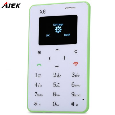 AIEK X6 Quad Band Card Phone 1.0 inchFeatured Phones<br>AIEK X6 Quad Band Card Phone 1.0 inch<br><br>Type: Bar Phone<br>Network type: GSM<br>Frequency: GSM 850/900/1800/1900MHz<br>Bluetooth: Yes<br>Screen size: 1.0 inch<br>Camera type: No camera<br>SIM Card Slot: Single SIM<br>Micro USB Slot: Yes<br>Microphone: Supported<br>Speaker: Supported<br>Languages: English, French, German, Russian, Arabic, Portuguese, Italian, Spanish, Italian, Hungarian, Dutch, Hebrew<br>Additional Features: Alarm,Bluetooth,Calculator,Calendar,FM<br>Cell Phone: 1<br>Battery: Built-in 320mAh battery<br>USB Cable: 1<br>English Manual : 1<br>Product size: 8.50 x 5.20 x 0.48 cm / 3.35 x 2.05 x 0.19 inches<br>Package size: 13.50 x 9.50 x 2.00 cm / 5.31 x 3.74 x 0.79 inches<br>Product weight: 0.028 kg<br>Package weight: 0.100 kg