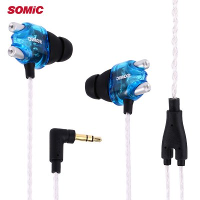 Somic V4 Double Moving-coil HiFi Headphones In-ear Earbud Headphones