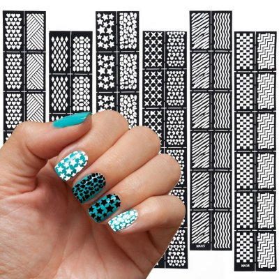 6 pcs Reusable Stamping Tool DIY Nail Art Hollow Template Stickers Stamp Stencil multi function kitchen shelves space aluminum shelf storage organizer kitchen accessories kitchen knife holder