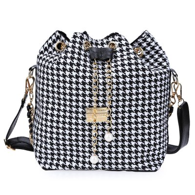 Lady Faux Pearl Letter Embellishment Print Pattern Bucket Multi Purpose Tote Shoulder Crossbody Bag