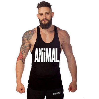 ANIMAL Print Scoop Collar Sleeveless Cotton Men Gym Tank