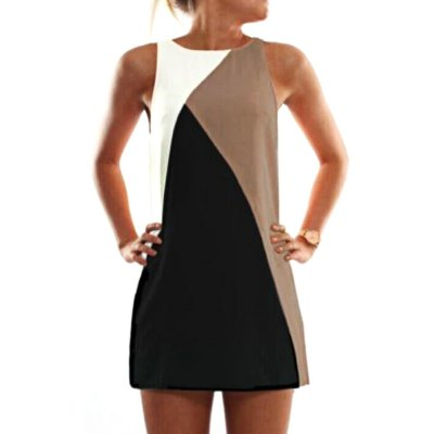 Casual Round Collar Sleeveless Color Block Patchwork Loose Women Mini Dress