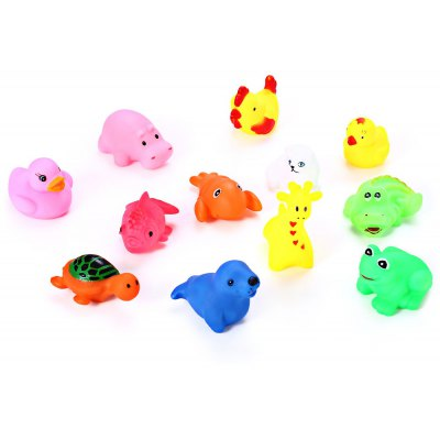 12Pcs Mixed Soft Float Squeeze Squeaky Swimming Gadget