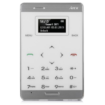 AIEK M3 Quad Band Card Phone 1.0 inchFeatured Phones<br>AIEK M3 Quad Band Card Phone 1.0 inch<br><br>Band Mode: 1SIM/Multi-Bands<br>Battery Capacity(mAh): 320<br>Battery Type: Not Detachable<br>Camera type: No camera<br>Cellular: GSM<br>CPU: Single Core<br>CPU Manufacturer: MTK<br>Design: Bar<br>Feature: FM radio,GPRS,MP3 Playback<br>Item Condition: New<br>RAM: &lt;128M<br>ROM: &lt;2G<br>SIM Card Quantity: Single SIM Card<br>Talk time: 3 hours<br>Thickness: Ultra Slim(&lt;9mm)<br>Product weight: 0.041 kg<br>Package weight: 0.110 kg<br>Product Size(L x W x H): 8.50 x 5.50 x 0.65 cm / 3.35 x 2.17 x 0.26 inches<br>Package Size(L x W x H): 13.50 x 10.00 x 2.00 cm / 5.31 x 3.94 x 0.79 inches<br>Package Contents: 1 x Card Phone, 1 x USB Cable, 1 x English User Manual