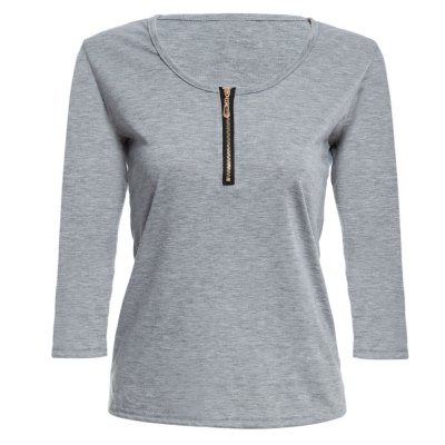 Brief Plunging Neck Three Quarter Sleeve Zipper Solid Color Women T-shirt