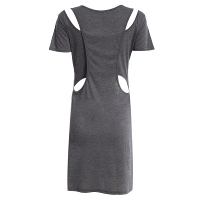Casual Round Collar Short Sleeve Hollow Out Patchwork Letter Print Pure Color Women Dress