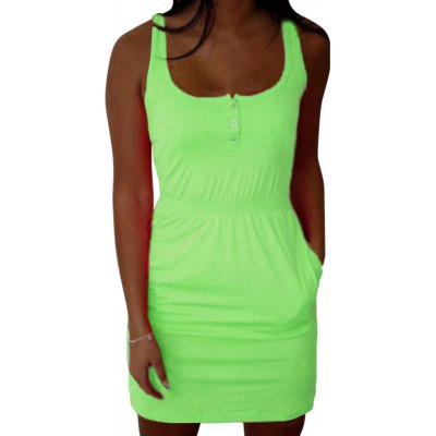 Scoop Collar Sleeveless Elastic Waist with Pocket Fluorescent Goffer Button Mini Women A-line Dress