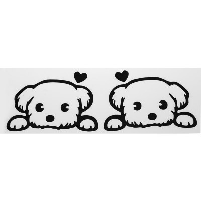 Paired Cartoon Dog Car Rearview Mirror Sticker